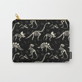 Dinosaur Fossils on Black Carry-All Pouch
