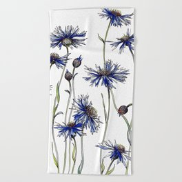 Blue Cornflowers, Illustration Beach Towel