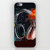 headphones iPhone & iPod Skins featuring Headphones by Gift Of Signs