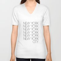 new york city V-neck T-shirts featuring New York New York City by Stylish in Sequins