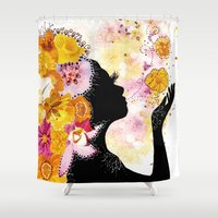 child Shower Curtains featuring Flower Child by Jenndalyn