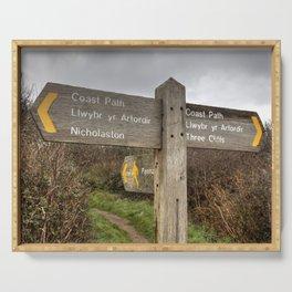 Bilingual Welsh English signpost Serving Tray