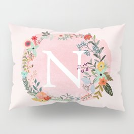 Flower Wreath with Personalized Monogram Initial Letter N on Pink Watercolor Paper Texture Artwork Pillow Sham