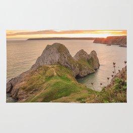 Three Cliffs Bay Beach Gower Sunset Rug