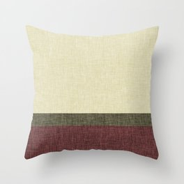 Tri Color Geometric Stripe Olive Green Red Wine Ecru Cream Burlap Print Throw Pillow