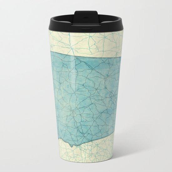 Alabama State Map Blue Vintage Metal Travel Mug