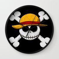 luffy Wall Clocks featuring Jack Luffy by le.duc