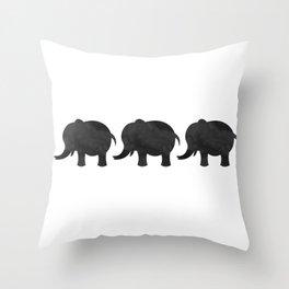 Three Baby Elephants Throw Pillow