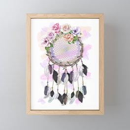 Dream Catcher, Catching Dreams, To Catch A Dream, Feathers and Flowers Dream Catcher Framed Mini Art Print