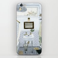 bathroom iPhone & iPod Skins featuring In The Bathroom by Yuliya