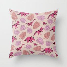 Dinosaur jungle illustration pattern hot pink girls Throw Pillow