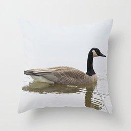 Canadian Goose Swimming Throw Pillow