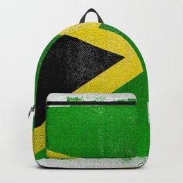 Jamaican Distressed Halftone Denim Flag Backpack