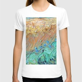 Wheat Field with Cypresses Brush Detail by Vincent van Gogh T-shirt