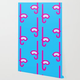 Pink Snorkel - Diver Pattern Wallpaper