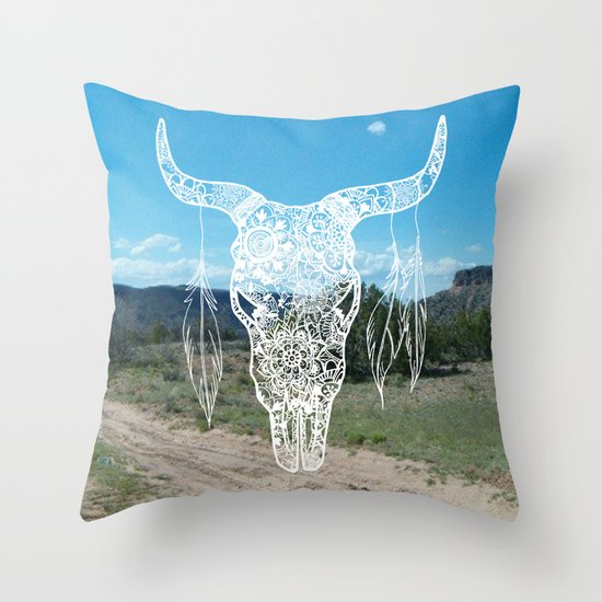 new mexico south western bull skull mandala pattern landscape