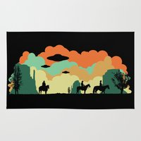 aliens Area & Throw Rugs featuring Cowboys & Aliens by kamonkey