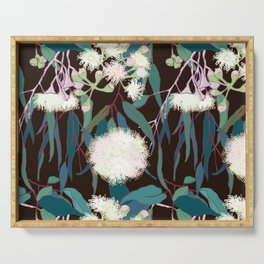 Australian Gumnut Eucalyptus Floral in White + Expresso Serving Tray