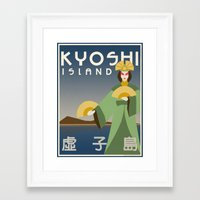 travel poster Framed Art Prints featuring Kyoshi Island Travel Poster by HenryConradTaylor