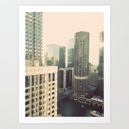 Chicago River Marina Tower Color Photo Art Print