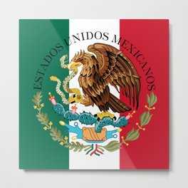 Mexican National Coat of Arms & Seal on flag colors (HQ image)  Metal Print