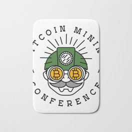 Bitcoin Mining Conference (Gnome Miner Icon) Bath Mat