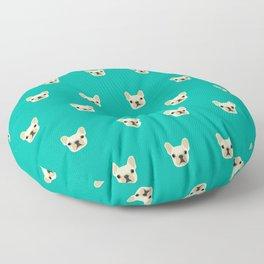 French Bulldog Peek - Cream on Teal Floor Pillow