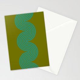 groovy minimalist pattern aqua waves on olive Stationery Cards