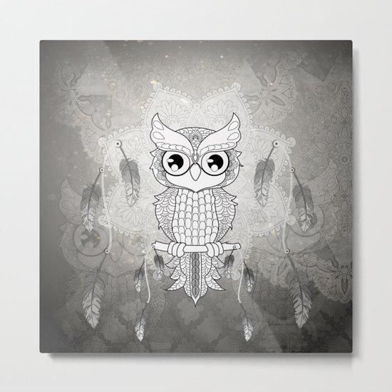 Cute owl in black and white Metal Print