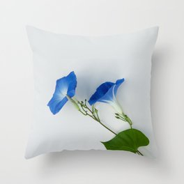Good Morning Glory:  Fine Art Photo of Flowers in Bold Blue on White Throw Pillow