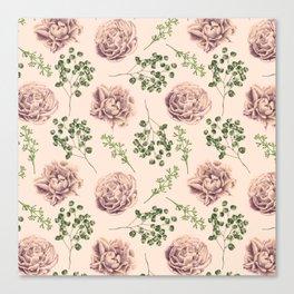 Rose Pattern Light Pink + Green Canvas Print