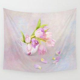 Pink & Purple Tulips In Vintage Tea Cup Wall Tapestry