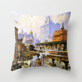 Elevated Subway at Chatham Square New York City landscape painting by Colin Campbell Cooper  Throw Pillow