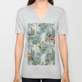Vintage Style Birds Pattern.Green Flowers and Leaves Pattern, Print. Unisex V-Neck