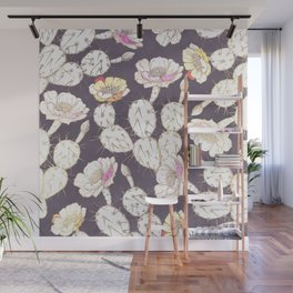 Modern white gold mauve lavender catus floral Wall Mural