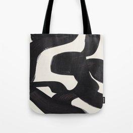 Mid Century Modern Minimalist Abstract Art Brush Strokes Black & White Ink Art Maze Tote Bag