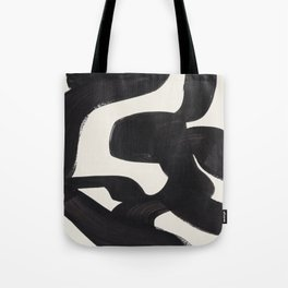 Mid Century Modern Minimalist Abstract Art Brush Strokes Black & White Ink Art Maze Tote Bag