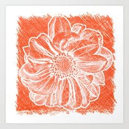 White Flower On Pumpkin Orange Crayon Art Print