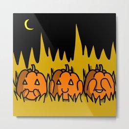 Halloween Pumpkins Speak No Evil, Hear No Evil, See No Evil | Veronica Nagorny Metal Print