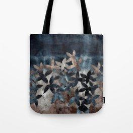 Shibori Leaf Print Indigo Denim Tote Bag