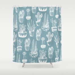 Cactus Pattern Teal Shower Curtain