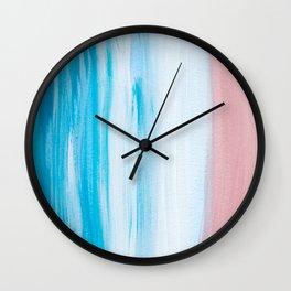 Aqua & Pink Abstract Wall Clock