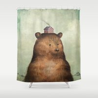 house stark Shower Curtains featuring Growing Up by Christian Schloe