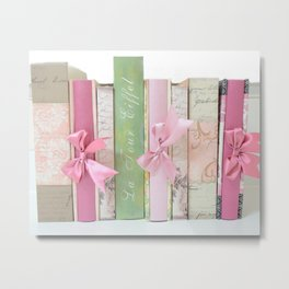 Shabby Chic Cottage Pink Aqua Books Collection  Metal Print