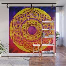 """""""SACRED GEOMETRY"""" WATERCOLOR MANDALA (HAND PAINTED) BY ILSE QUEZADA Wall Mural"""