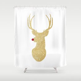 Rudolph The Red-Nosed Reindeer   Gold Glitter Shower Curtain