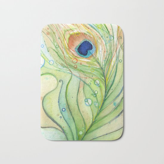 Peacock Feather Green Texture and Bubbles Bath Mat