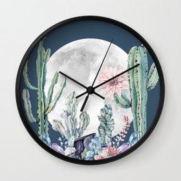 Desert Nights Gemstone Oasis Moon Navy Wall Clock