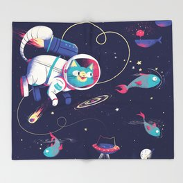 The Adventures of Space Cat Throw Blanket