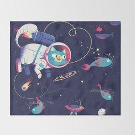 The Adventures of Space Cat Throw Blanket